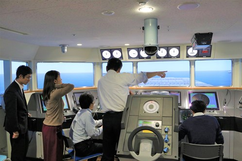 Simulation room where the data of how captains would determine to avoid collision is collected